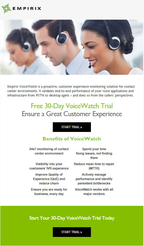 VoiceWatch trial email
