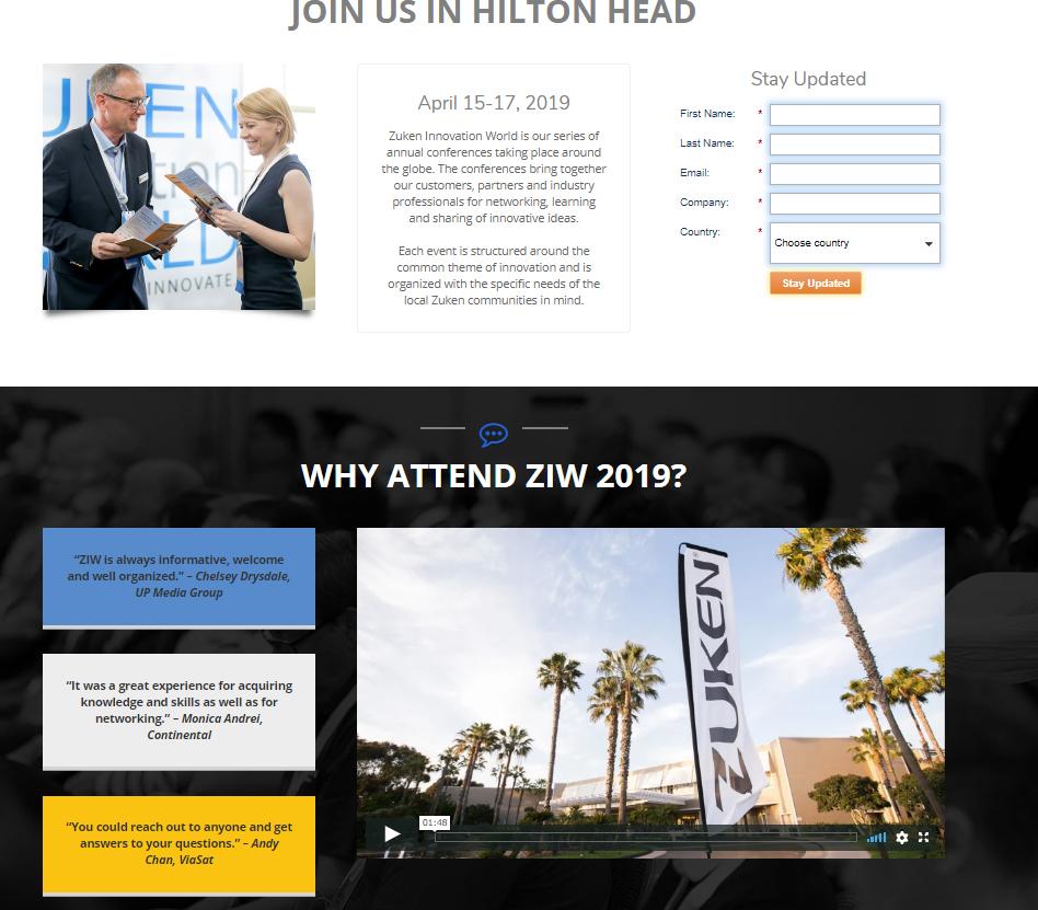 Zuken Innovation World 2019 website
