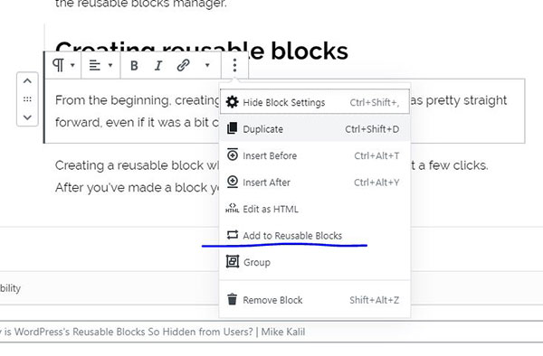 Add to reusable blocks screenshot