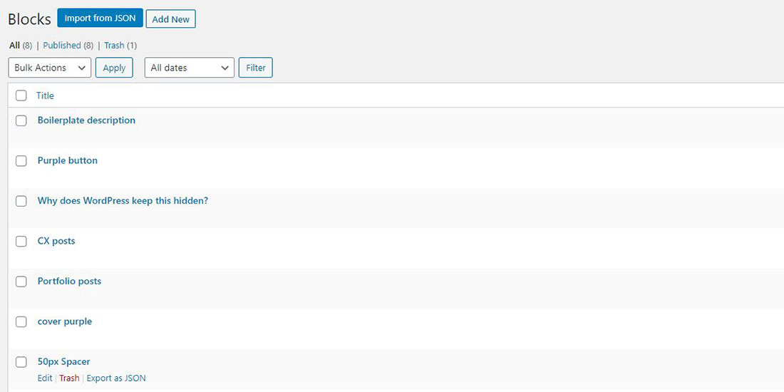 WordPress Reusable Blocks Manager screenshot