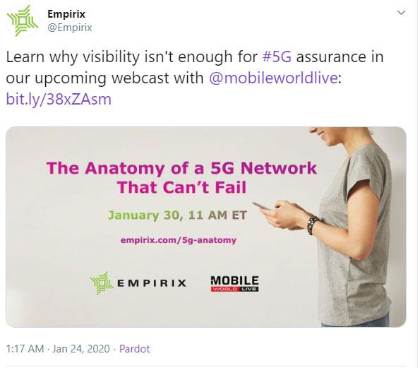 5G webinar promotion on Twitter