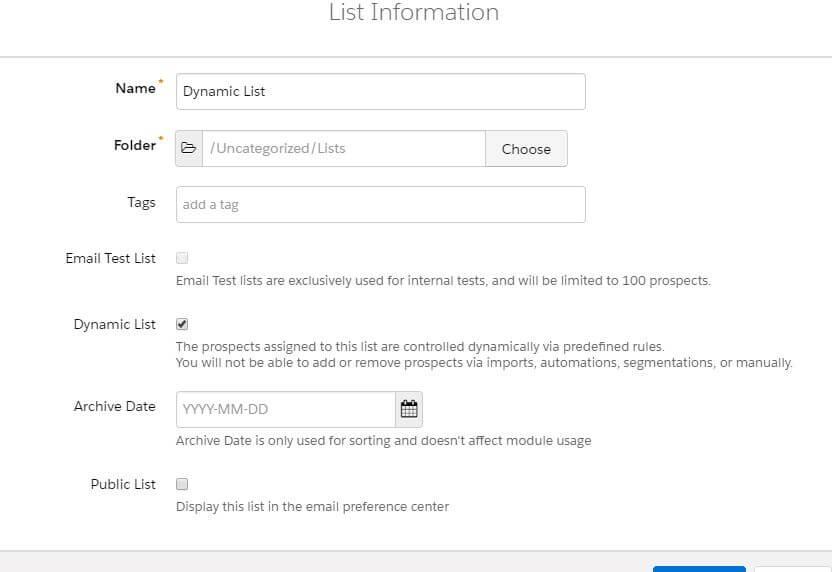 Creating Pardot Dynamic List