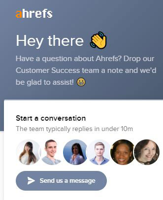 Ahrefs chat on homepage