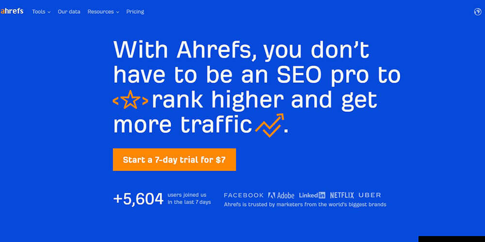 Ahrefs.com homepage hero screenshot