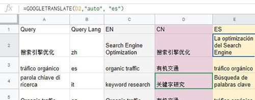 Google Sheets: Translate Keyword Formula