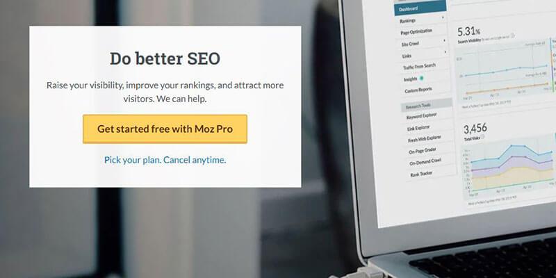 Moz: Do Better SEO CTA screenshot