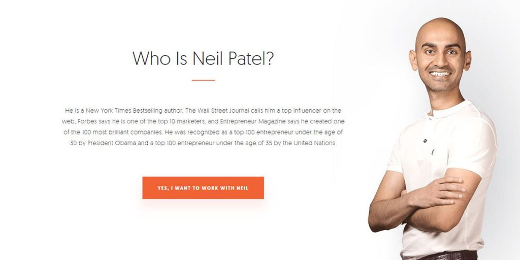 Who is Neil Patel homepage screenshot