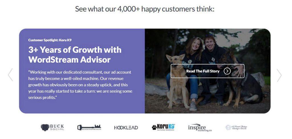 WordStream customer story screenshot