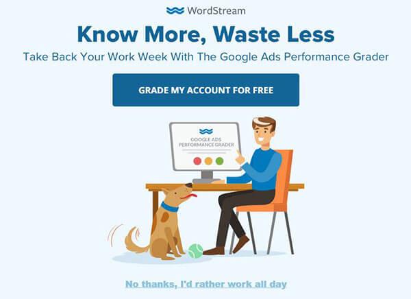 WordStream Google Ads grader popup