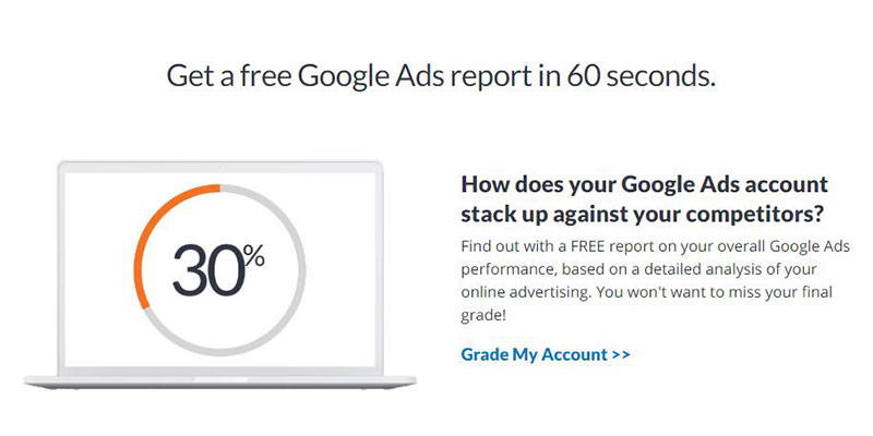 WordStream: Grade My Account CTA
