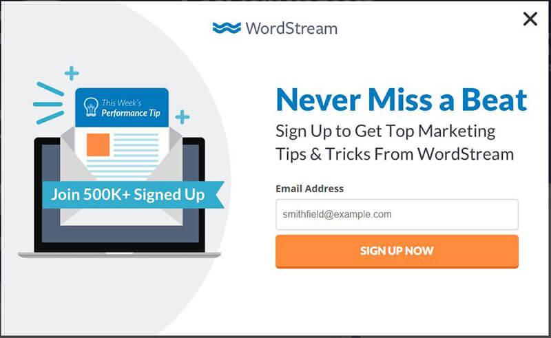WordStream subscriber popup